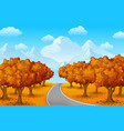 autumn forest landscape with mountains and trees vector image
