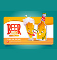 beer party cartoon landing page funny characters vector image vector image