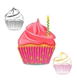 Birthday candle cupcake set vector image