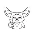 black and white smiling pleased fennec fox who vector image