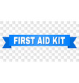 blue ribbon with first aid kit title vector image