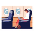 business woman on an airplane business trip trip vector image vector image