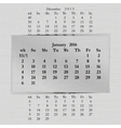 calendar month for 2016 pages January vector image vector image