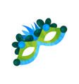 carnival mask with feathers masquerade mask vector image