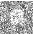Cartoon cute doodles hand drawn space vector image