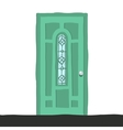cartoon flat abstract green door icon vector image