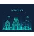 Chennai skyline trendy linear vector image vector image