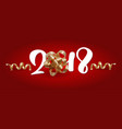 christmas greeting card 2018 lettering red vector image vector image