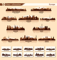 City skyline set Europe silhouettes vector image vector image