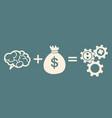 concept of investment brain plus money equals vector image