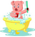 cute pig bathing time vector image vector image
