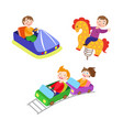 flat children at amusement park set vector image