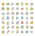 Flat Line Colorful School Subjects Icons vector image vector image