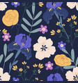 floral seamless pattern with irises and roses on vector image