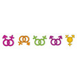 gender sign icon set color outline style vector image