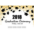 graduate caps and the gold confetti banner vector image vector image