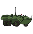 Green wheeled troop carrier vector image vector image