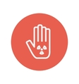 Hand and some object thin line icon vector image