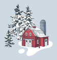 hand drawn winter landscape with farm vector image vector image