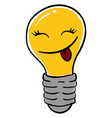 happy lighting bulb on white background vector image vector image