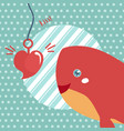happy valentines day with cute shark valentines vector image vector image