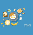 healthy breakfasts top poster frame vector image
