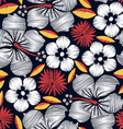 Hibiscus tropical embroidery seamless pattern vector image vector image