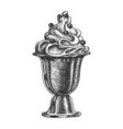 ice cream in cup with berries hand drawn vector image vector image