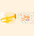 jazz day banner of trumpet music instrument vector image vector image
