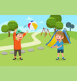 kids playing ball in playground vector image vector image