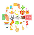 kindness icons set cartoon style vector image