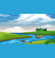 Landscape background design river and blue sky