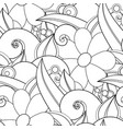 monochrome seamless pattern with floral motifs vector image vector image