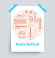 music festival poster line art vector image vector image