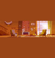 old abandoned chalet house with broken furniture vector image