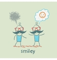 one thinks about smileys the other person sad vector image vector image