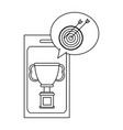 online championship trophy cup black and white vector image vector image