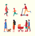 people walking together with pram family strolls vector image vector image