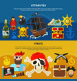 pirate cartoon banner set vector image vector image