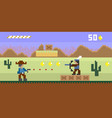 Pixel art western style shooter video game
