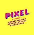 pixel font 3d retro video game style alphabet vector image