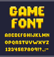 pixel game font set text and typography elements vector image