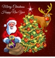 Santa gift bag decorated tree and funny deer vector image vector image