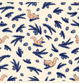 Seamless pattern with squirrels and pine cones