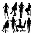 secretary in office silhouettes vector image vector image