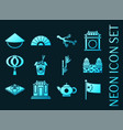 set china blue glowing neon icons vector image