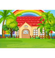 Single house with green lawn vector image vector image