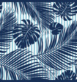 summer navy blue tropical forest leaves bright vector image