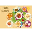 Thai and finnish cuisine dishes with dessert icon vector image vector image