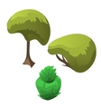 Topiary tree and fancy flowerbed icon of plants vector image